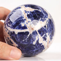 477g 74mm Large Natural Blue Sodalite Quartz Crystal Sphere Healing Ball Chakra