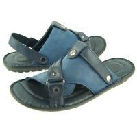 Charles Stone Genuine Leather Men's Slingback/Slide Sandals, Blue 7-12US/40-45EU