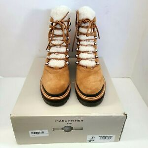 Marc Fisher Izzie Brown Suede Shearling Lace Up Boots 7 New in Box