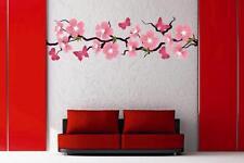 Wandtattoo Kirchblütenzweig mit Schmetterlingen 210 x 63 cm