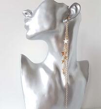 Gorgeous 20cm long gold tone STAR charm & chain tassel drop earrings
