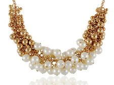 Punk Golden Tone Faux Pearl Beads and Baubles Fashion Statement Necklace Jewelry