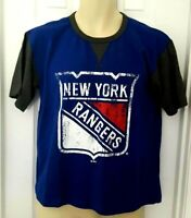 NEW YORK RANGERS Youth T Shirt Size Large Blue Distressed Logo Majestic New