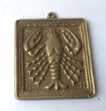 Vintage Collectible Retro Relief Brass Astral Zodiac Sign Pendant - Cancer