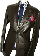 LUXURY MENS TOM FORD LEATHER CHOCOLATE BROWN SUIT STYLE JACKET BLAZER COAT 46R