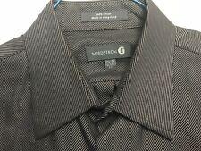 NORDSTROM GRAY-BLACK STRIPED 100% COTTON DRESS SHIRT MINT CONDITION SIZE 16.5-34
