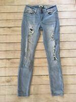 Indigo Rein Light Wash Distressed Anklet Jeans Juniors Size 7 Stretch