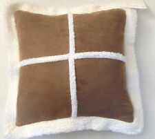 """BNWT LARGE SHEEPSKIN BROWN & WHITE FAUX SUEDE PATCHWORK FULL CUSHION 22"""" X 22"""""""