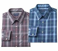 New Croft & Barrow Men Slim-Fit Plaid Point-Collar Dress Shirt Size 17-18.5 $45