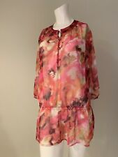Sheer Chiffon Chicos Shirt Size 1 M/8 Chico's Blouson Blouse Pullover Floral