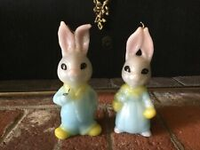 """Pair Vtg 1970s Easter Bunny Couple Large Candles Mr. Mrs. Rabbit Gray 8"""" Tall"""