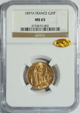 "1897A Gold 20 Franc NGC MS65 (WINGS Gold Sticker) -- ""Lucky"" Angel Coin"