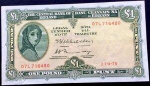 Ireland £1 One Pound,1975,P-64,Lady Lavery,VF