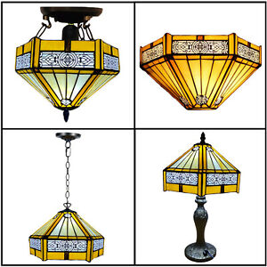 """Yellow Tiffany Style 10"""" Stained Glass Shade Table/Pendant/Ceiling Lamp E27 Bulb"""