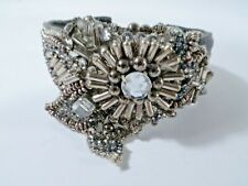 JOOMI LIM Grey Grosgrain Ribbon Crystal Bugle bead Cuff Bracelet NWOT $198