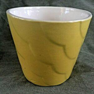 Vintage Yellow Pottery Scalloped Flower Pot ALAMO