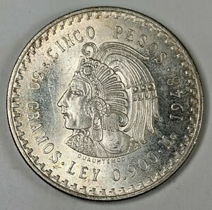 1948 Mexican Cinco Pesos .900 Fine Silver Uncirculated 187932R