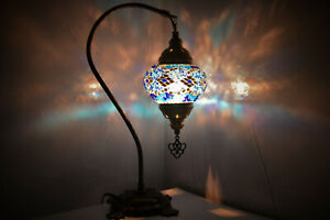 Blue Colour Turkish Moroccan Mosaic Handmade Glass Light Desk Table Lamp