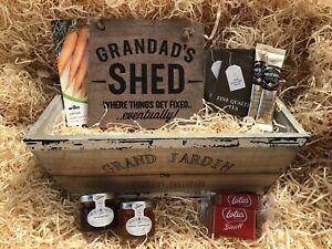 Grandad Birthday Fathers Day Rustic Wood Garden Planter Gift Hamper Tea Coffee