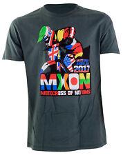 NEW ADULT MOTOCROSS OF NATIONS TEE SHIRT FLAGS MX ENDURO T-SHIRT GREY SIZE LRG