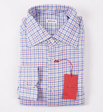 NWT $795 KITON NAPOLI Multi-Check Soft Cotton Shirt 17 x 36 Modern-Fit