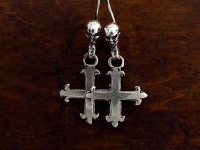 MySacrum FLEUR DE LIS CROSS  EARRINGS SILVER 925