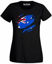 Womens Torn Australian Flag T-Shirt Australia World Cup Olympics Supporter Proud