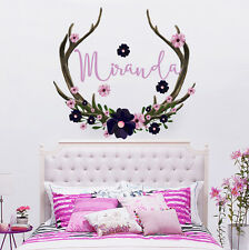 Name Wall Decal Rustic Nursery Decor Antlers Deer Decal Girls Name Sticker MA227