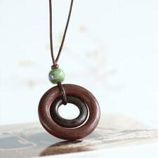 Long Brown Cord Tie Up Bohemian Boho Dual Round Wooden Charm Necklace Penda F8Z5