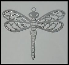 Filigree #F7 x 2 Dragonflies Silver Metal Charm (40mm x 33mm) Dragonfly