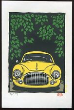 Ferrari 212 Yellow Japanese woodblock print Original Hanga Kitami Mi-04