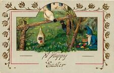 Fantasy Easter~Gnome Takes Colored Eggs As Hens Watch~Fence~Gold~Emb~GEL~Germany