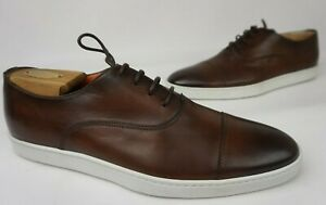 Santoni Men's Brown Durbin Cap Toe Dress Sneakers Shoes Size 9 D