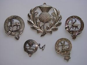 Scottish Antique Clan Badges and Jewelry Lot of Four Silver