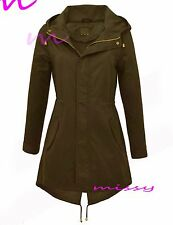 New Plus Size 18 20 22 24 Womens Canvas Coat Ladies Hooded Trench Jacket Black B