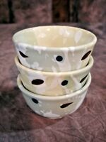 Set of 3 Small Ceramic Bowls Condiment Dipping Sauce Sorbet 4 oz Contemporary St