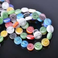 20pcs 10mm Circles Coin Colorful Millefiori Glass Loose Spacer DIY Craft Beads