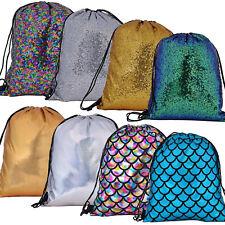 Drawstring Bag Backpack Sequin Metallic Mermaid Shiny Bling Festival Dance Gym