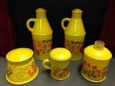 Lot of 5 vintage 1970's Avon Pennsylvania Dutch yellow fruit sonnet bottles