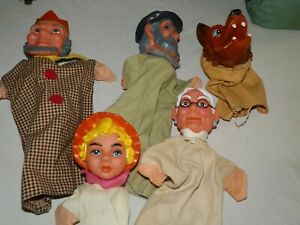 Vintage Hand Puppets Probably German 5 Piece Lot Wolf Maybe Rare