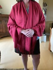 Cashmere Shawl Scarf Bienvenu Large Ruby Red Oversize  71x28