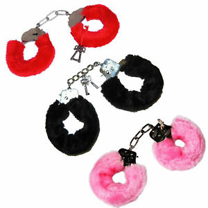 FURRY FLUFFY HANDCUFFS Fancy Dress Hen Do Night Stag Do Role Play Party Toy Play