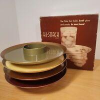 "Vintage 1950s Serv-Rite Hi-Snack Plates 8"" Set of 4 Multicolor w Box Party BBQ"
