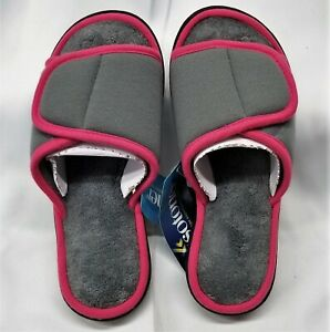 Isotoner Women's MICROTERRY Slide Slipper MEMORY FOAM, ADJUSTABLE TOP Size 6.5-7