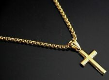 """24"""" Men Stainless Steel Gold Box Chain Necklace Small Tiny Plain CROSS Pendant"""