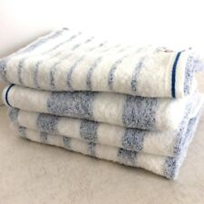 Japanese Imabari Face Towel set of 4 Cotton 32 x 79cm Blue Border Made in JAPAN