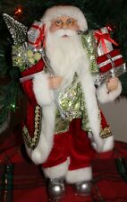 "Standing 16"" Christmas Santa Claus Shiny Silver right to his boots Nwt"