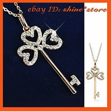 9K GOLD GF CLOVER KEY TAG HEART SIMULATED DIAMOND GIFT SOLID PENDANT NECKLACE