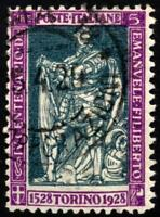 Regno - 1928 - Lire 5 Emanuele Filiberto - usato - n.229 - Firmato Sorani