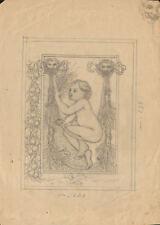 FESTONE CON PUTTO - Disegno Originale a Matita 1800